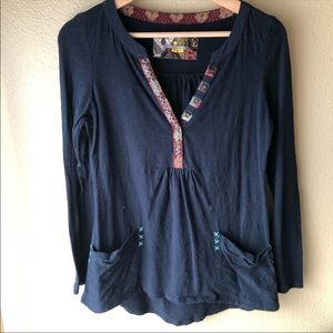 Anthropologie Navy boho long sleeve with pockets